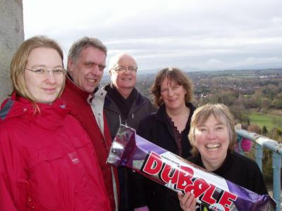 Shropshire Fairtrade Coalition taking a giant Fairtrade Dubble bar round the county, here at the top of the Column, Shrewsbury, March 2006